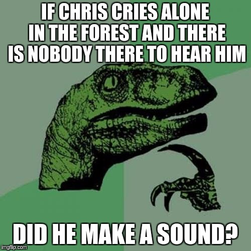 Philosoraptor Meme | IF CHRIS CRIES ALONE IN THE FOREST AND THERE IS NOBODY THERE TO HEAR HIM DID HE MAKE A SOUND? | image tagged in memes,philosoraptor | made w/ Imgflip meme maker