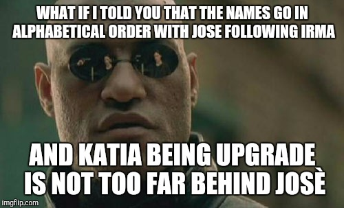 Matrix Morpheus Meme | WHAT IF I TOLD YOU THAT THE NAMES GO IN ALPHABETICAL ORDER WITH JOSE FOLLOWING IRMA AND KATIA BEING UPGRADE IS NOT TOO FAR BEHIND JOSÈ | image tagged in memes,matrix morpheus | made w/ Imgflip meme maker