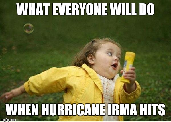 Chubby Bubbles Girl Meme | WHAT EVERYONE WILL DO WHEN HURRICANE IRMA HITS | image tagged in memes,chubby bubbles girl | made w/ Imgflip meme maker