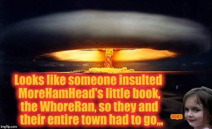 Disaster Girl Nukes 'Em | Looks like someone insulted MoreHamHead's little book, the W**reRan, so they and   their entire town had to go,,, oops | image tagged in disaster girl nukes 'em | made w/ Imgflip meme maker
