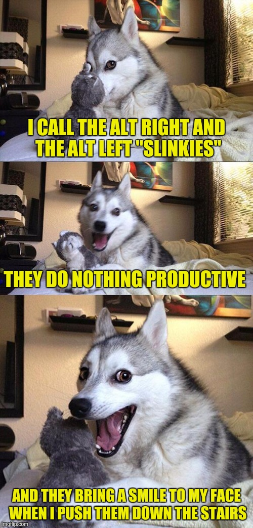 "So many stairs so little time  | I CALL THE ALT RIGHT AND THE ALT LEFT ""SLINKIES"" THEY DO NOTHING PRODUCTIVE AND THEY BRING A SMILE TO MY FACE WHEN I PUSH THEM DOWN THE STAI 