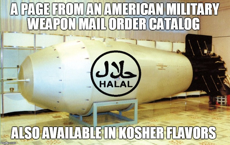 A PAGE FROM AN AMERICAN MILITARY WEAPON MAIL ORDER CATALOG ALSO AVAILABLE IN KOSHER FLAVORS | image tagged in bl4h h-bomb | made w/ Imgflip meme maker