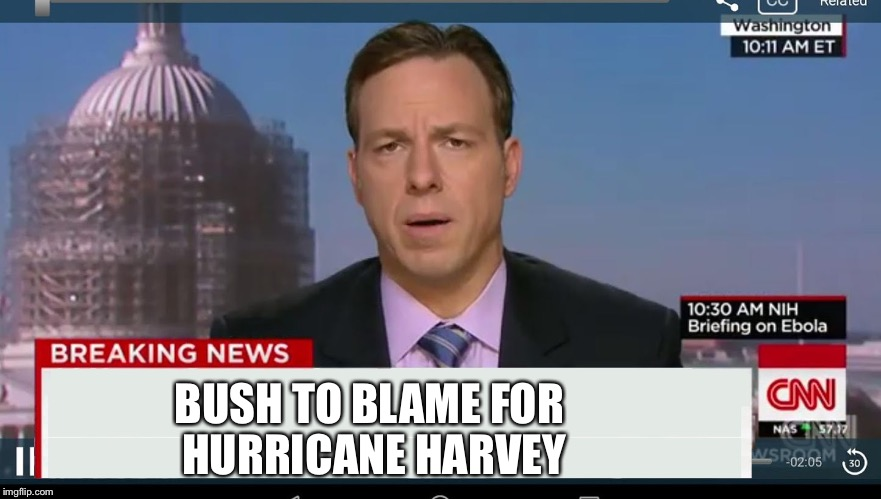 cnn breaking news template | BUSH TO BLAME FOR HURRICANE HARVEY | image tagged in cnn breaking news template | made w/ Imgflip meme maker