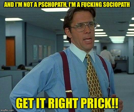 That Would Be Great Meme | AND I'M NOT A PSCHOPATH, I'M A F**KING SOCIOPATH GET IT RIGHT PRICK!! | image tagged in memes,that would be great | made w/ Imgflip meme maker