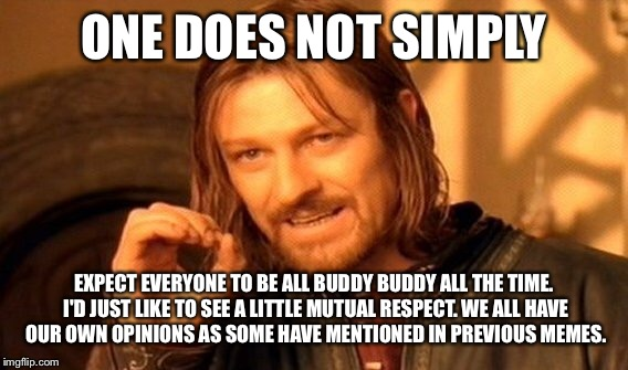 One Does Not Simply Meme | ONE DOES NOT SIMPLY EXPECT EVERYONE TO BE ALL BUDDY BUDDY ALL THE TIME. I'D JUST LIKE TO SEE A LITTLE MUTUAL RESPECT. WE ALL HAVE OUR OWN OP | image tagged in memes,one does not simply | made w/ Imgflip meme maker