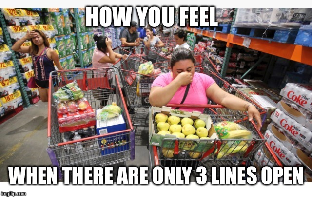 Long lines | HOW YOU FEEL WHEN THERE ARE ONLY 3 LINES OPEN | image tagged in florida,memes,funny memes,hurricane irma,irma,meme | made w/ Imgflip meme maker