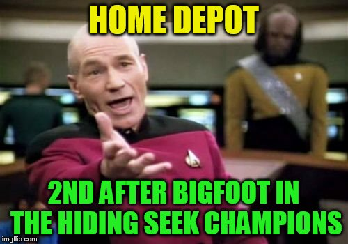 Picard Wtf Meme | HOME DEPOT 2ND AFTER BIGFOOT IN THE HIDING SEEK CHAMPIONS | image tagged in memes,picard wtf | made w/ Imgflip meme maker