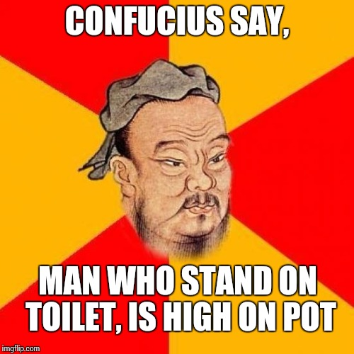 Confucius Says | CONFUCIUS SAY, MAN WHO STAND ON TOILET, IS HIGH ON POT | image tagged in confucius says | made w/ Imgflip meme maker