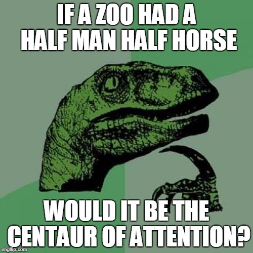 Philosoraptor Meme | IF A ZOO HAD A HALF MAN HALF HORSE WOULD IT BE THE CENTAUR OF ATTENTION? | image tagged in memes,philosoraptor | made w/ Imgflip meme maker