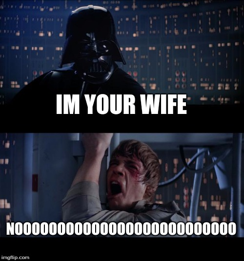 Star Wars No Meme | IM YOUR WIFE NOOOOOOOOOOOOOOOOOOOOOOOOOO | image tagged in memes,star wars no | made w/ Imgflip meme maker