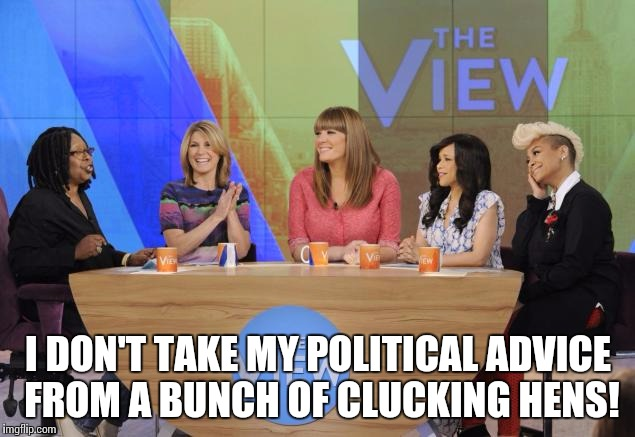 The View | I DON'T TAKE MY POLITICAL ADVICE FROM A BUNCH OF CLUCKING HENS! | image tagged in the view | made w/ Imgflip meme maker