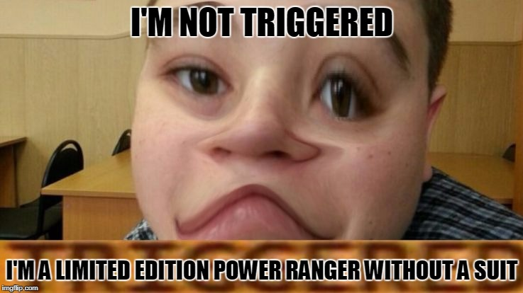 trig,ered | I'M NOT TRIGGERED I'M A LIMITED EDITION POWER RANGER WITHOUT A SUIT | image tagged in limit,memes,funny,triggered | made w/ Imgflip meme maker