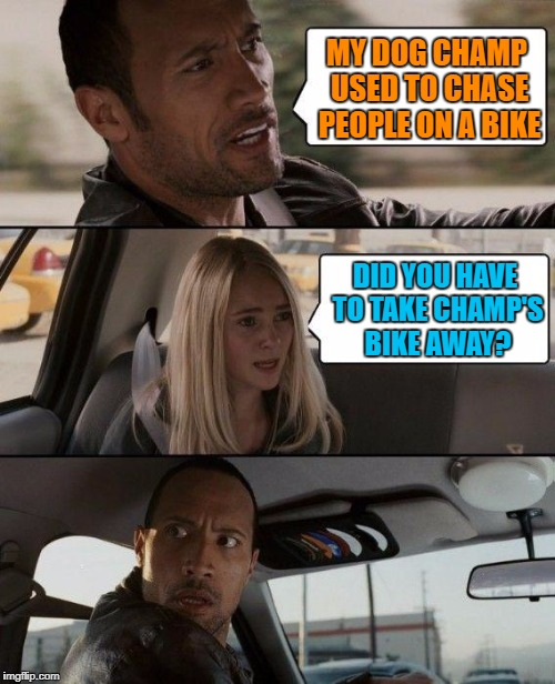 Blonde Logic | MY DOG CHAMP USED TO CHASE PEOPLE ON A BIKE DID YOU HAVE TO TAKE CHAMP'S BIKE AWAY? | image tagged in memes,the rock driving | made w/ Imgflip meme maker