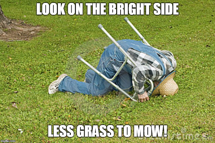 LOOK ON THE BRIGHT SIDE LESS GRASS TO MOW! | made w/ Imgflip meme maker