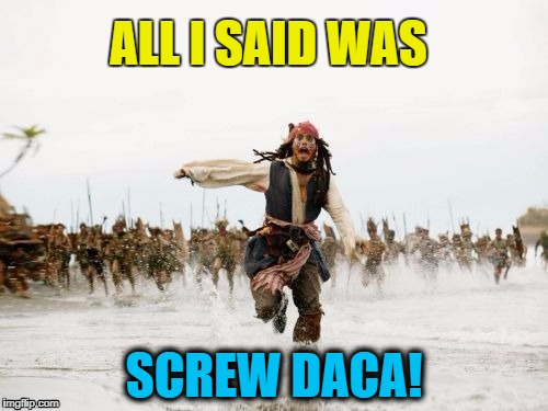 D.A.C.A. = Deferred Action for Childhood Arrivals | ALL I SAID WAS SCREW DACA! | image tagged in pirates of the caribbean | made w/ Imgflip meme maker