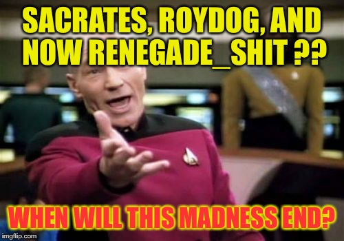 We need to take action against copycat accounts! | SACRATES, ROYDOG, AND NOW RENEGADE_SHIT ?? WHEN WILL THIS MADNESS END? | image tagged in memes,picard wtf,copycat | made w/ Imgflip meme maker