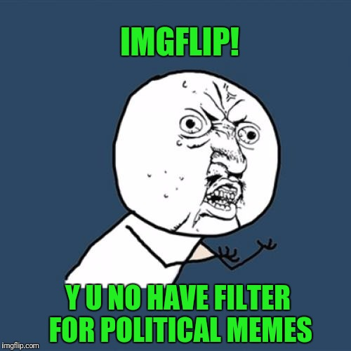 Y U No Meme | IMGFLIP! Y U NO HAVE FILTER FOR POLITICAL MEMES | image tagged in memes,y u no | made w/ Imgflip meme maker