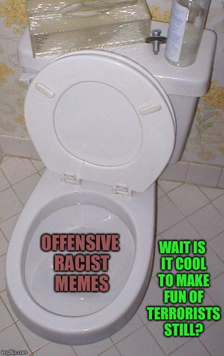 Toilet | OFFENSIVE RACIST MEMES WAIT IS IT COOL TO MAKE FUN OF TERRORISTS STILL? | image tagged in toilet | made w/ Imgflip meme maker