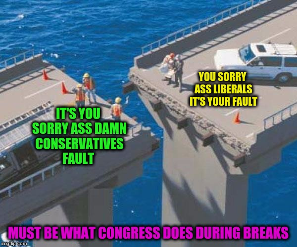 YOU SORRY ASS LIBERALS IT'S YOUR FAULT MUST BE WHAT CONGRESS DOES DURING BREAKS IT'S YOU SORRY ASS DAMN CONSERVATIVES FAULT | made w/ Imgflip meme maker