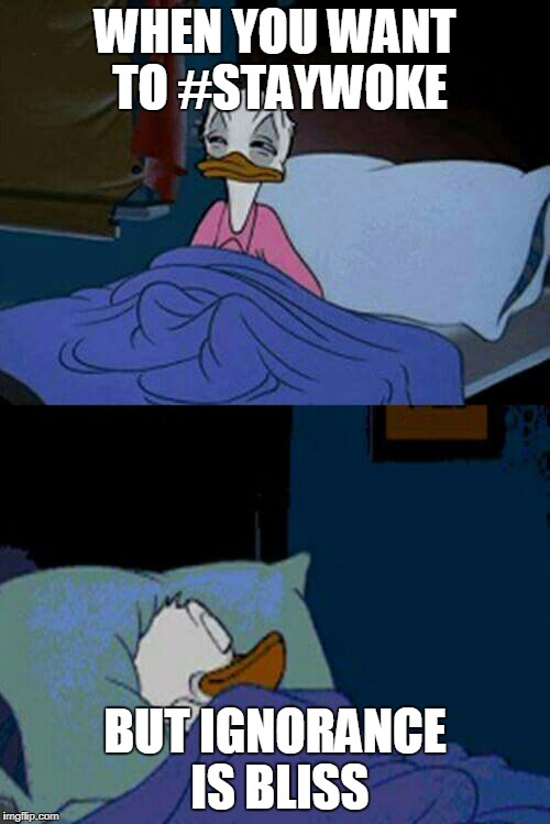 sleepy donald duck in bed | WHEN YOU WANT TO #STAYWOKE BUT IGNORANCE IS BLISS | image tagged in sleepy donald duck in bed | made w/ Imgflip meme maker