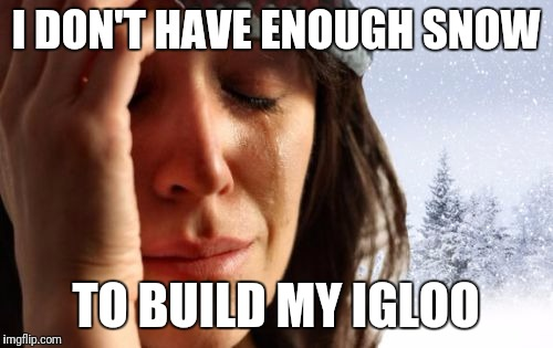 1st World Canadian Problems Meme | I DON'T HAVE ENOUGH SNOW TO BUILD MY IGLOO | image tagged in memes,1st world canadian problems | made w/ Imgflip meme maker