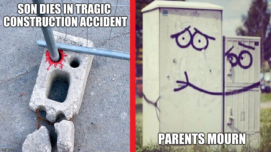 Top story for CBS today | SON DIES IN TRAGIC CONSTRUCTION ACCIDENT PARENTS MOURN | image tagged in tragedy,so sad,oh no | made w/ Imgflip meme maker
