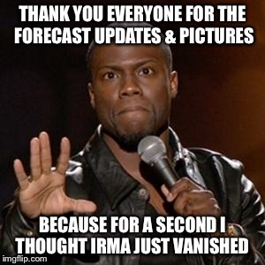 kevin hart 1 | THANK YOU EVERYONE FOR THE FORECAST UPDATES & PICTURES BECAUSE FOR A SECOND I THOUGHT IRMA JUST VANISHED | image tagged in kevin hart 1 | made w/ Imgflip meme maker