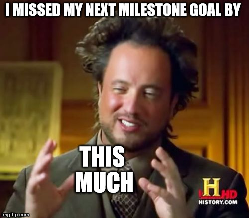 Ancient Aliens Meme | I MISSED MY NEXT MILESTONE GOAL BY THIS MUCH | image tagged in memes,ancient aliens | made w/ Imgflip meme maker