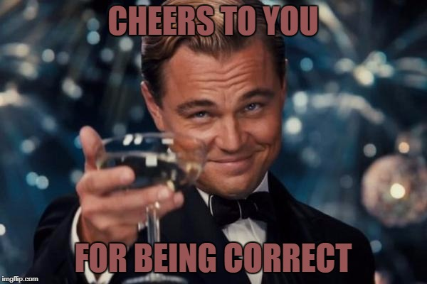 Leonardo Dicaprio Cheers Meme | CHEERS TO YOU FOR BEING CORRECT | image tagged in memes,leonardo dicaprio cheers | made w/ Imgflip meme maker