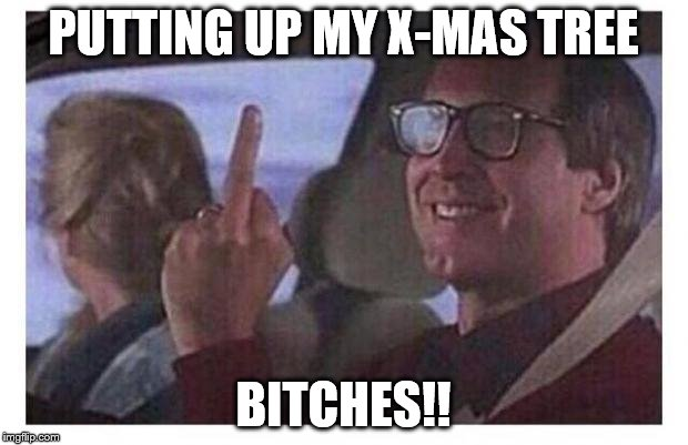 Christmas Vacation | PUTTING UP MY X-MAS TREE B**CHES!! | image tagged in christmas vacation | made w/ Imgflip meme maker
