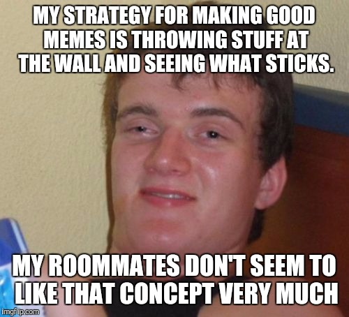 At least now the wall looks nice... | MY STRATEGY FOR MAKING GOOD MEMES IS THROWING STUFF AT THE WALL AND SEEING WHAT STICKS. MY ROOMMATES DON'T SEEM TO LIKE THAT CONCEPT VERY MU | image tagged in memes,10 guy | made w/ Imgflip meme maker