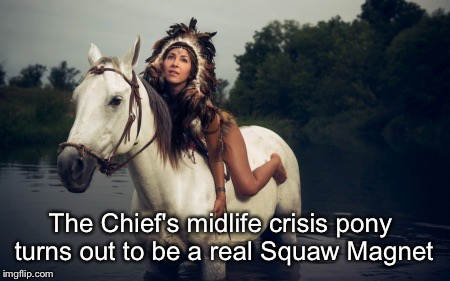 Noble Savage | The Chief's midlife crisis pony turns out to be a real Squaw Magnet | image tagged in indians,middle age,long black hair,horses | made w/ Imgflip meme maker