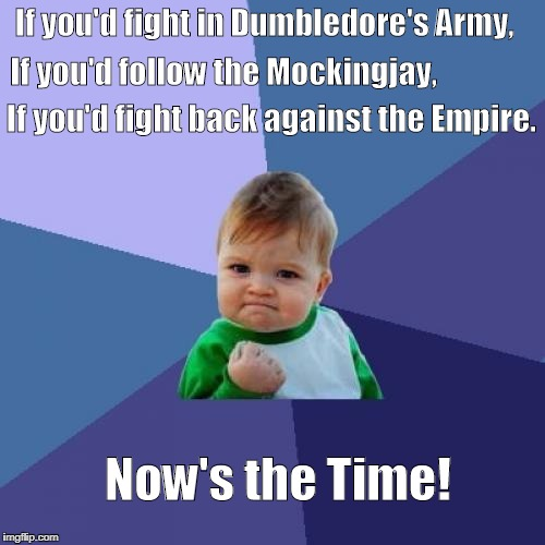 Success Kid Meme | If you'd fight in Dumbledore's Army, If you'd follow the Mockingjay, If you'd fight back against the Empire. Now's the Time! | image tagged in memes,success kid | made w/ Imgflip meme maker