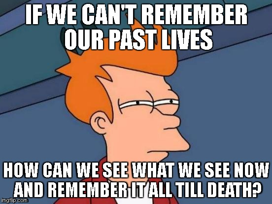 Futurama Fry Meme | IF WE CAN'T REMEMBER OUR PAST LIVES HOW CAN WE SEE WHAT WE SEE NOW AND REMEMBER IT ALL TILL DEATH? | image tagged in memes,futurama fry | made w/ Imgflip meme maker