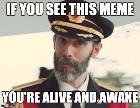 Captain Obvious | IF YOU SEE THIS MEME YOU'RE ALIVE AND AWAKE | image tagged in captain obvious | made w/ Imgflip meme maker