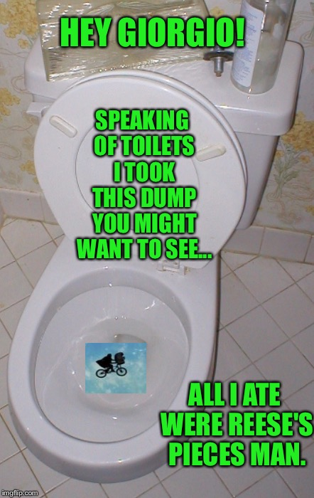 Toilet | HEY GIORGIO! SPEAKING OF TOILETS I TOOK THIS DUMP YOU MIGHT WANT TO SEE... ALL I ATE WERE REESE'S PIECES MAN. | image tagged in toilet | made w/ Imgflip meme maker