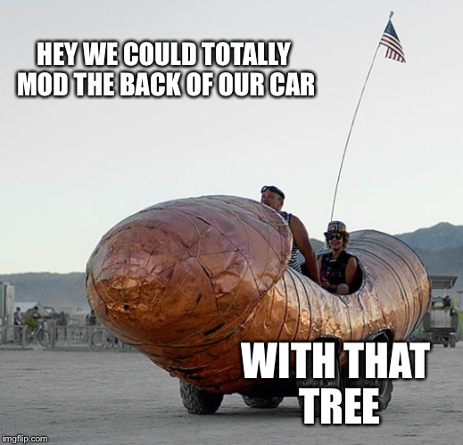 HEY WE COULD TOTALLY MOD THE BACK OF OUR CAR WITH THAT TREE | made w/ Imgflip meme maker