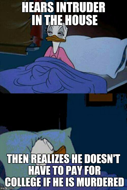 sleepy donald duck in bed | HEARS INTRUDER IN THE HOUSE THEN REALIZES HE DOESN'T HAVE TO PAY FOR COLLEGE IF HE IS MURDERED | image tagged in sleepy donald duck in bed | made w/ Imgflip meme maker