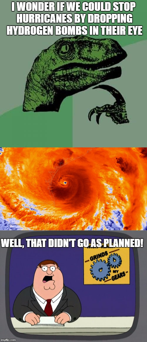 Philosoraptor  | I WONDER IF WE COULD STOP HURRICANES BY DROPPING HYDROGEN BOMBS IN THEIR EYE WELL, THAT DIDN'T GO AS PLANNED! | image tagged in hurricane,philosoraptor | made w/ Imgflip meme maker