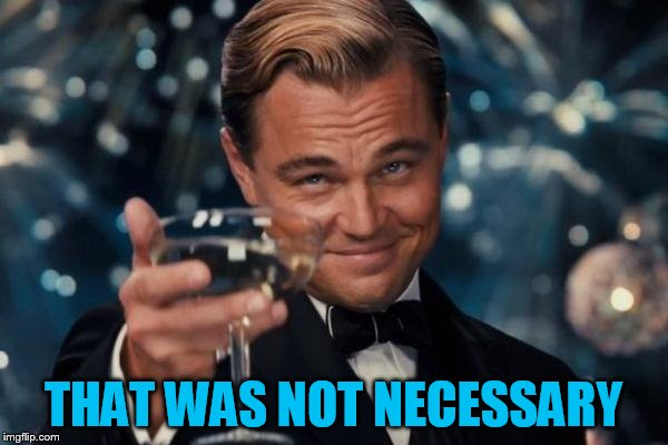 Leonardo Dicaprio Cheers Meme | THAT WAS NOT NECESSARY | image tagged in memes,leonardo dicaprio cheers | made w/ Imgflip meme maker