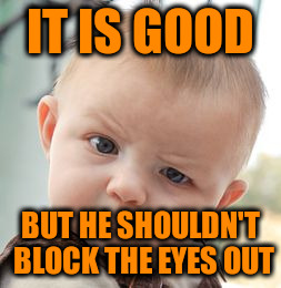 Skeptical Baby Meme | IT IS GOOD BUT HE SHOULDN'T BLOCK THE EYES OUT | image tagged in memes,skeptical baby | made w/ Imgflip meme maker