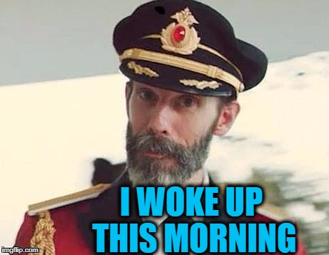 Captain Obvious | I WOKE UP THIS MORNING | image tagged in captain obvious | made w/ Imgflip meme maker