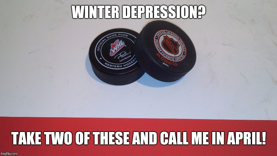WINTER DEPRESSION? TAKE TWO OF THESE AND CALL ME IN APRIL! | image tagged in ice hockey | made w/ Imgflip meme maker