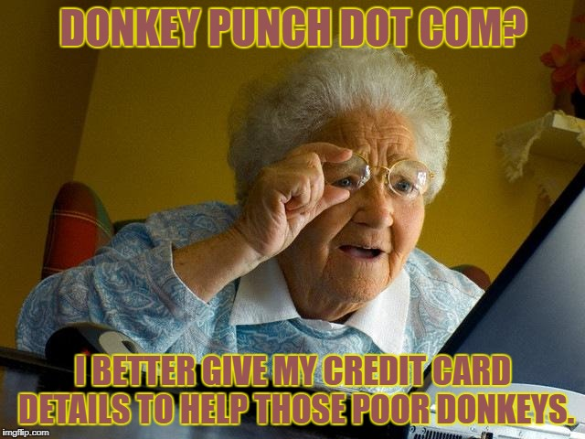 PETA approved meme. | DONKEY PUNCH DOT COM? I BETTER GIVE MY CREDIT CARD DETAILS TO HELP THOSE POOR DONKEYS. | image tagged in memes,grandma finds the internet,donkeys | made w/ Imgflip meme maker