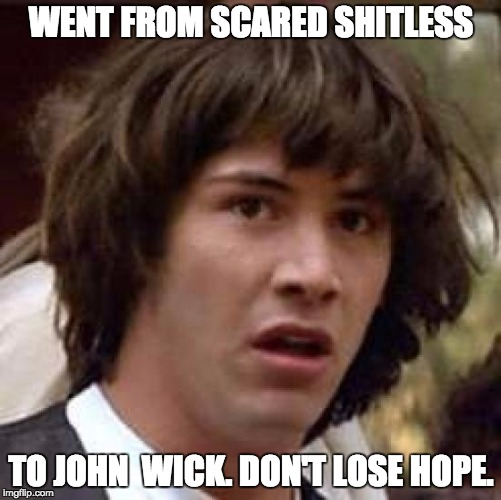 Conspiracy Keanu Meme | WENT FROM SCARED SHITLESS TO JOHN  WICK. DON'T LOSE HOPE. | image tagged in memes,conspiracy keanu | made w/ Imgflip meme maker