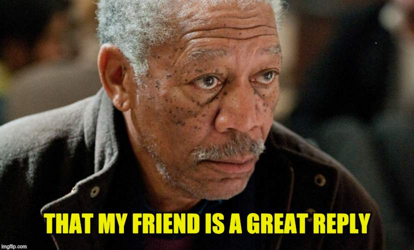 Morgan Freeman | THAT MY FRIEND IS A GREAT REPLY | image tagged in morgan freeman | made w/ Imgflip meme maker