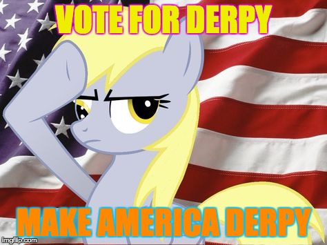 VOTE FOR DERPY MAKE AMERICA DERPY | image tagged in derpy | made w/ Imgflip meme maker