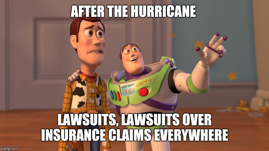 AFTER THE HURRICANE LAWSUITS, LAWSUITS OVER INSURANCE CLAIMS EVERYWHERE | image tagged in x x everywhere | made w/ Imgflip meme maker