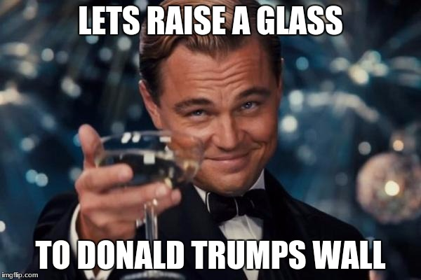 Leonardo Dicaprio Cheers Meme | LETS RAISE A GLASS TO DONALD TRUMPS WALL | image tagged in memes,leonardo dicaprio cheers | made w/ Imgflip meme maker