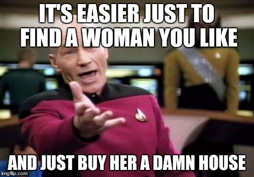 Picard Wtf Meme | IT'S EASIER JUST TO FIND A WOMAN YOU LIKE AND JUST BUY HER A DAMN HOUSE | image tagged in memes,picard wtf | made w/ Imgflip meme maker